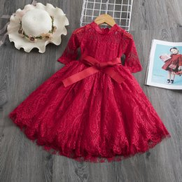 $enCountryForm.capitalKeyWord Australia - Red Kids Dresses For Girls Flower Lace Tulle Dress Wedding Little Girl Ceremony Party Birthday Dress Children Autumn Clothing