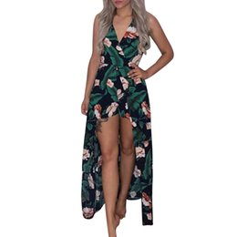 beach jumpsuits women UK - Women Boho Strapless Jumpsuit Summer Sexy V-neck Floral Printing Playsuit elegant Sleeveless Party Beach Rompers #15T