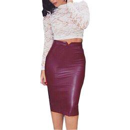 Venta al por mayor de Pu Mujeres Falda Larga de Cuero de Color Sólido Cintura Alta Falda Lápiz de La Cadera Delgada Falda Bodycon Sexy Clubwear Sexy Iu861775