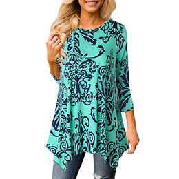 $enCountryForm.capitalKeyWord UK - Casual Print Vintage T Shirt Women Loose O-Neck Plus Size Irregular Top Mid-Long Tshirt Bohemia Breathable Lady T-Shirt Sexy Tee