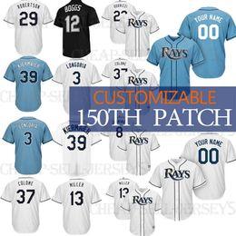 5241906dc Custom 39 Kevin Kiermaier Tampa Bay Men Ray jersey Wade Boggs 4 Blake Snell 3  Evan Longoria 5 Matt Duffy Baseball Jerseys Alvarado