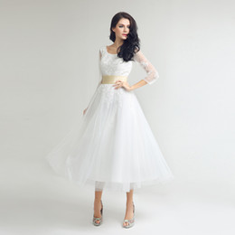 occasion dresses long sleeves UK - Little White Black Lace Appliques Homecoming Dresses Simple Tulle Tea-Length Graduation Party Gowns Cheap Short Prom Dress SD036