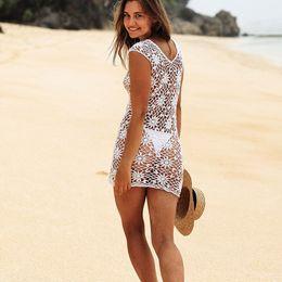 $enCountryForm.capitalKeyWord Australia - Crochet Mesh Bikini Cover Up 2018 100% Cotton Women Summer Sexy Hollow Out Straps Beach Dress Swimsuit Deep Knitted Bathing Wear