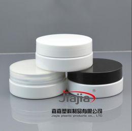 Wholesale Beauty Jars Australia - 50 grams white PET Jar,Cosmetic Jar 50g white jar with clear white black PP Lid Make up Packaging Beauty Salon Equipment