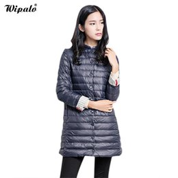 Wholesale snow coats for women resale online - Wipalo Hot Sale Casual Coat Parkas For Women Winter Female Snow Warm Jacket Long Thin Duck Down Coat For Laides Y190827