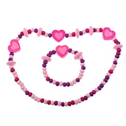 $enCountryForm.capitalKeyWord Australia - Free Shipping Fashion New Children Jewelry Sets For Girls Wooden Cute Love Heart Beads Necklace Bracelet Jewelry Set Baby Gift