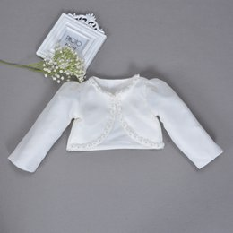 white beaded trim Australia - Christening Bolero Long Sleeve Cape Pearl Beaded Trim Baby Clothes Tops Toddler Coat White Formal Outerwear Baby Baptism Bolero