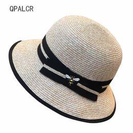 Little Hats Australia - QPALCR Summer Bow Paper Straw Hat Womens Garland Sun Bucket Hat Roll-up Hem Beach Cap Little Bee Sun For Women SW318011