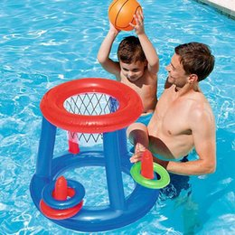 water ring game Canada - Childrens Inflatable Floating BasketBall Hoop Ring Toss Game Swimming Pool Party Water Play Toys Blow Up Ball Amusement Park