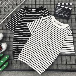 $enCountryForm.capitalKeyWord Australia - jimmyhey Summer embroidery Ladies T-shirts harajuku Women Striped O-Neck Korean Style tshirt Female kawaii Students Casual loose t shirt