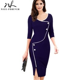 lantern sleeve work dresses Canada - Nice-forever Vintage Brief Split Bottom Elegant Casual Work 3 4 Sleeve Deep O-neck Bodycon Knee Women Office Pencil Dress B329 Y190425