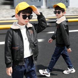 leather collar shirt Australia - Children's Clothing Boy Leather Jacket New Windbreaker Plus Velvet Thick Outwear Kid's Shirt Autumn and Winter Coat 4-12 Years Old