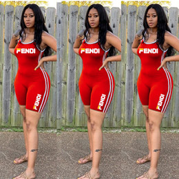 $enCountryForm.capitalKeyWord Australia - Fandi Women Jumpsuits Rompers Designer Short Bodysuits Red Letter Print Strap Sleeveless Side Ribbon Short Slim Jumpsuit Romper S-2XL