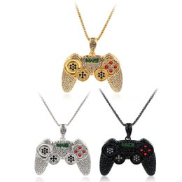 $enCountryForm.capitalKeyWord Australia - Hip Hop Men Necklace Full Bling Crystal Game Machine Handle Pendant Necklace Gold Silver Black Link Chain Personal Necklace Boys Gift