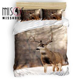 Discount deer bedding sets - MISSHOUSE Animal Deer In The Snow Duvet Cover Set Bed Sheets Comforter Cover Pillowcases 4pcs Bedding Sets