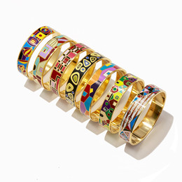 Snake Paintings Australia - Titanium steel woman bangle imitation enamel painted drip cylinder wide version bracelet girl gift