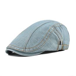 825d6dc7aea wholesale Summer Cotton Newsboy Caps Beret Men Women Washed Denim Gatsby Flat  Cap Vintage Ivy Hat Adjustable Retro Golf Boina 388