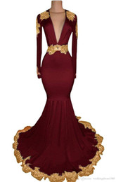 robe soiree sexy pink UK - Mermaid Burgundy Pink Prom Dresses 2019 Long Sleeves Gold Appliques Keyhole Back Party Gown Formal Evening Dress robe de soiree