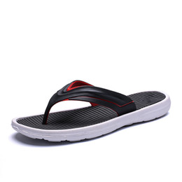 Eva Sole Flip Flops UK - Men Beach Flip Flops 2019 Summer Flat Shoes Comfortable Sole Slip-on Male Fashion Sandals Men Casual Flip Flop Slippers SH022807