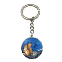 $enCountryForm.capitalKeyWord Australia - Squirrel DIY Silver Chain Keychain Handmade Glass Dome Pendant Key Ring Car Key Chain Best Gift For Friend