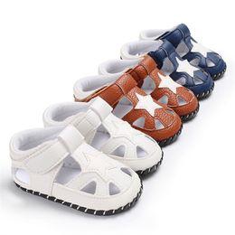 $enCountryForm.capitalKeyWord Australia - Summer Baby Boys Shoes Newborn Toddler Baby Boys Solid Star Leather Sandals Soft Sole Anti-slip Shoes Baby Boys Sandals M8Y14