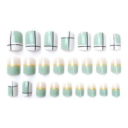 $enCountryForm.capitalKeyWord Australia - Fresh Stripe 24pcs set Acrylic Fake Fingernails Ins Rendering False Nails Simple Rainbow Flower Women Full Nail Tips Patch