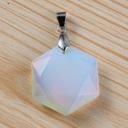 Trendy Christmas Gifts Australia - Trendy-beads Popular Silver Plated Opalite Opal Hexagon Section Lucky Star Pendant For Christmas Gift