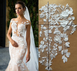 Free 3d Images Australia - 1 m Cheap New Real Image Wedding Dresses Prom Evening Fabric Lace Ivory Embroidery 3D Floral Flowers Wedding Accessories Free Shipping