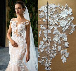 Günstige neue reale Bild Brautkleider Abschlussball-Abend-Gewebe-Spitze-Elfenbein-Stickerei-3D-Blumenblumen Hochzeit Zubehör Kostenloser Versand im Angebot