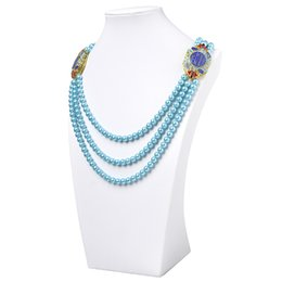 $enCountryForm.capitalKeyWord UK - Hot-selling 8*34*53mm Specifications Light Round Blue Beads with Pendant Imitation Pearls Necklace 29inch gem H448
