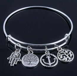 Discount hand beads for men - Expandable Tibetan Silver Hamsa Bangle Hand Sailboat Anchor Tree Of Life Bracelet 20pcs Men Friendship Bracelet For Woma