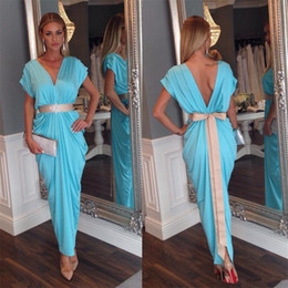 Wholesale flower aqua green for sale - Group buy Ruffles Short Sleeves Belt Bowknot prom formal dresses aqua blue V neck Beaded Open Back evening party dresses with champagne blet