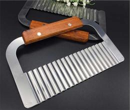 $enCountryForm.capitalKeyWord Australia - Hardwood Handle Stainless Steel Crinkle Wax Vegetable Potato Soap Cutter Wavy Slicer Chopper G430