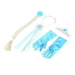 $enCountryForm.capitalKeyWord UK - Hot Sale! 5PCS Cosplay Crown Tiara Hair Accessory Crown Wig + Magic Wand For Anna Great Costume for Party Performance