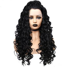 synthetic lace wigs free shipping UK - Free Shipping Long Black kinky Curly Lace Front Wigs For Women Synthetic Hair Lace Wig Heat Resistant Fiber Glueless Natural Hair Cheap Wig