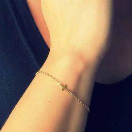 ALIUTOM 2018 charm cruz pulsera de cadena cruz joyería de moda pulseras mujer pulsera de cadena al por mayor en venta