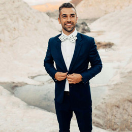 Dark Blue Suits Australia - Summer Dark Blue Men Wedding Suits Casual Man Suits Groom Tuxedos Two Buttons 2Piece Coat Pants Cotume Homme Slim Fit Terno Masculino