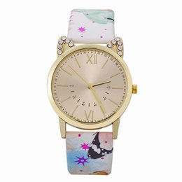 Glass butterfly dresses online shopping - fashion beautiful flower butterfly printing women leather watches cat dial diamond roma ladies dress quartz wrist watches