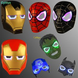 wholesale spiderman masks Australia - LED Masks Children Animation Cartoon Spiderman Light Mask Masquerade Full Face Masks Halloween Costumes Party Gift