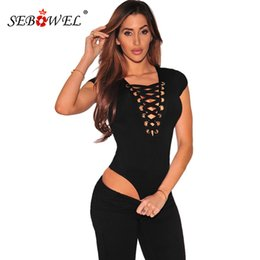 body string sexy Canada - SEBOWEL Women's Body Tops Black Cap Sleeves Lace Up Bodysuit Sexy Cross Strings Front Short Sleeve Jumpsuits Female Tanks Vests Y200401