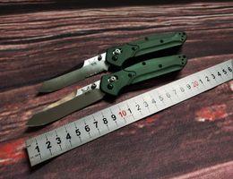 """Toptan satış Benchmade 940 Osborne Katlama Bıçak 3.4"""" S30V Saten Düz Bıçak, Mor Eloksallı Spacer titanyum, Yeşil Alüminyum Kolları"""