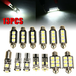 Discount vw golf interior - 13pcs Auto Interior Light High Bright Front Rear Dome LED Bulbs Kit Car Reading Lights White Car Interior VW Golf 6 M-K6