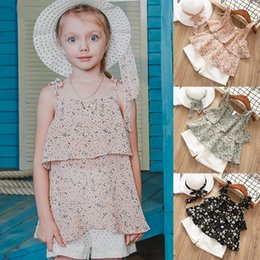 embroidered tops girls 2019 - kids clothes 3 colors Halter tops + Shorts + hat 3 Piece Sets kids designer clothes Floral Chiffon Halter T-shirt Embroi