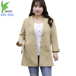 trench coat women NZ - Plus size 8XL trench coat women casual solid color single-breasted outwear fashion sashes oversize office coat chic trench G806