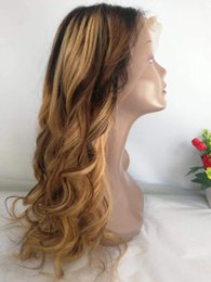 Discount black honey blonde ombre - Honey Blonde Ombre Human Hair Wig Glueless Raw Indian Loose Wave Lace Front Wigs Colorful F4 27 Wavy Braided Full Lace W
