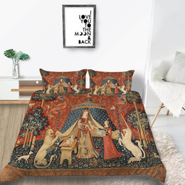 orange bedding sets double Australia - Arab Bedding Set Unicorn Classic Rertro Royal Luxury Duvet Cover Queen King Single Double Twin Full Soft Bed Cover with Pillowcase