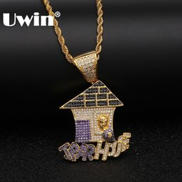 ice housing Canada - Uwin Colored Iced Cubic Zirconia Trap House Necklace Double Color Plating Hiphop Gold Color Pendant Jewelry For Men Women