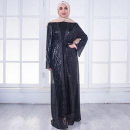 Kaftan Muslim Women Sequins Evening Dress Turkish Dubai Ladies Open Abaya  Kaftan Islamic Long Sleeve Dresses Ramadan Clothing 6f099d98f296