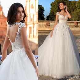 Lace Hole Back Wedding Dress Australia - Key Hole Back Wedding Dresses Lace Long Bridal Gowns A Line Cap Sleeves Tulle Formal Novia Wedding Reception Gowns