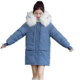 cheap long cotton coats 2019 - G1301 2019 autumn winter new Korean version women fashion loose thickened keep warm cotton-padded jacket coat cheap whol